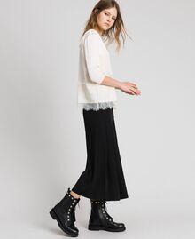 Soft satin blouse with lace flounce Black Woman 192MP2133-01