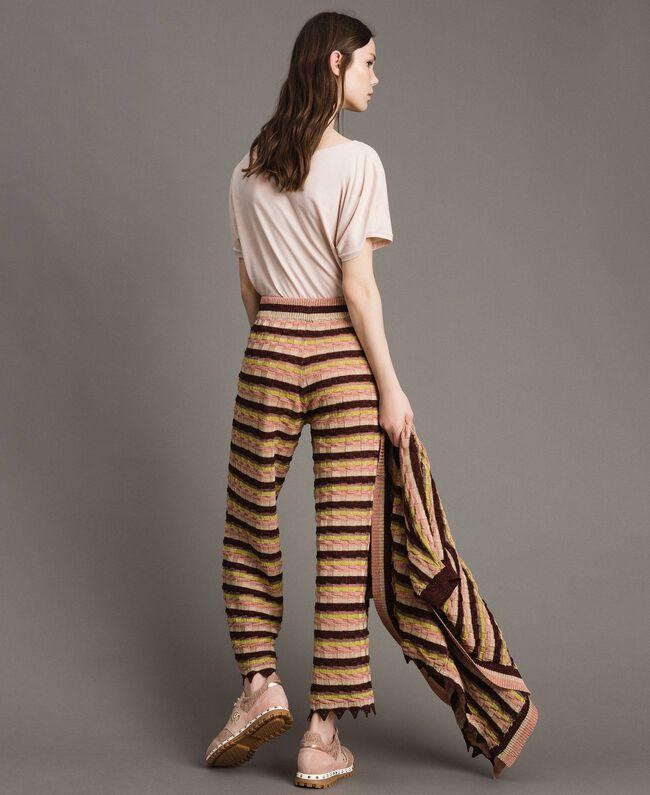 """Pantalon palazzo rayé en lurex Multicolore Marron """"Poudre De Bronze"""" Femme 191LB3AEE-04"""