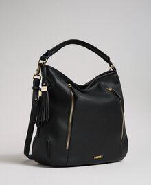 Sac hobo en similicuir avec pompons décoratifs Noir Femme 192TA7142-01