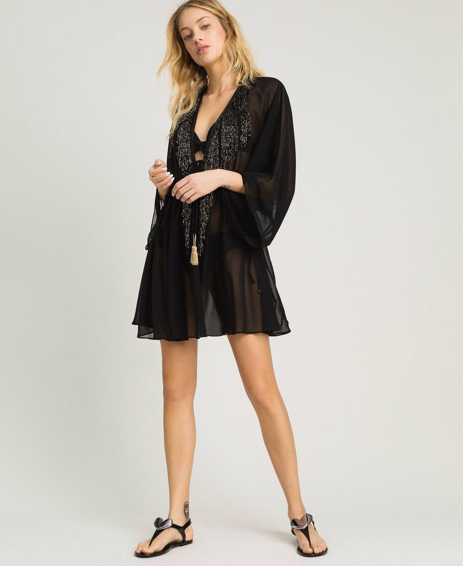 Chiffon kaftan with fringes Black Woman 191LM2BFF-01