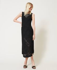 Long crochet dress with embroidery Black Woman 211TT3102-02