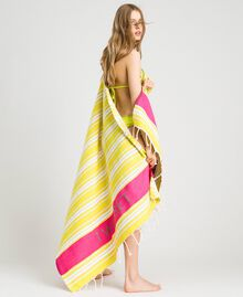 "Cotton beach towel with jacquard stripes ""Bronze"" Brown / ""Lemon Juice"" Yellow Multicolour Striping Woman 191LB4ANN-0S"