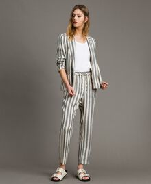 "Two-tone striped linen trousers Two-tone Black / ""Marzipan"" Beige Woman 191TT2314-01"