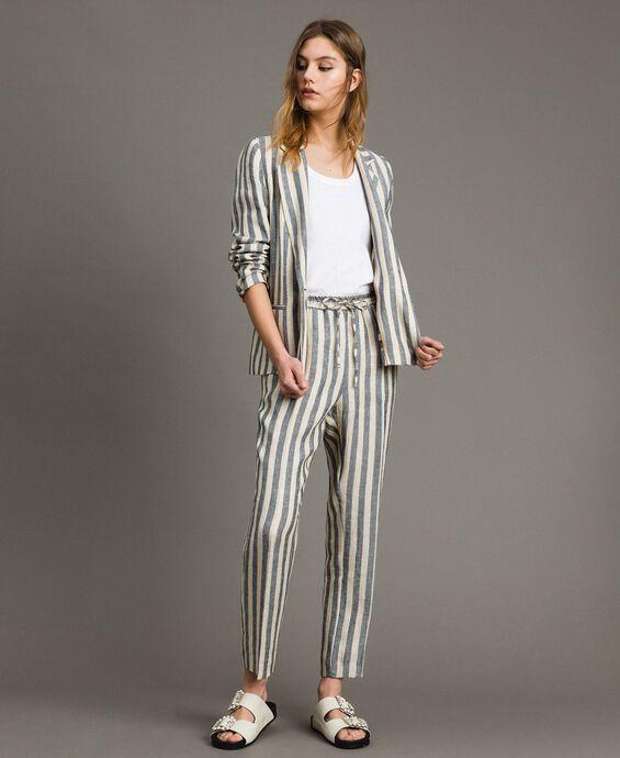 Pantalon en lin en rayures bicolores