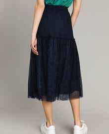Tulle and lace mid-length skirt Blue Shadow Woman 191ST2072-03