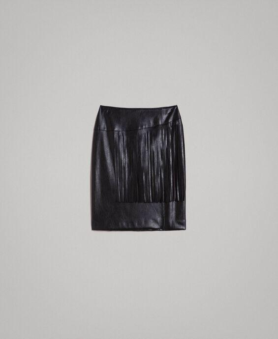 7156fb2c79c Миниюбка из искусственной кожи с бахромой