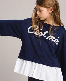 Sweat shirt au point de Milan et popeline Bicolore Indigo / Blanc Optique Enfant 191GJ2212-04
