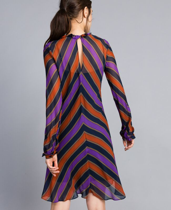 Robe en crêpe georgette rayé Imprimé Rayure Multicolore Femme TA8295-03