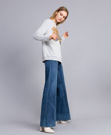 Printed cotton sweatshirt Melange Grey Woman TA82ZB-02