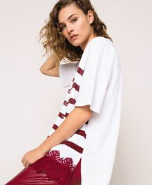 Oversize striped T-shirt with logo and lace Optical White / Crimson Red Woman 201ST2165-01