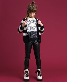 Printed T-shirt with lace Optical White / Black Child 192GJ2393-0T