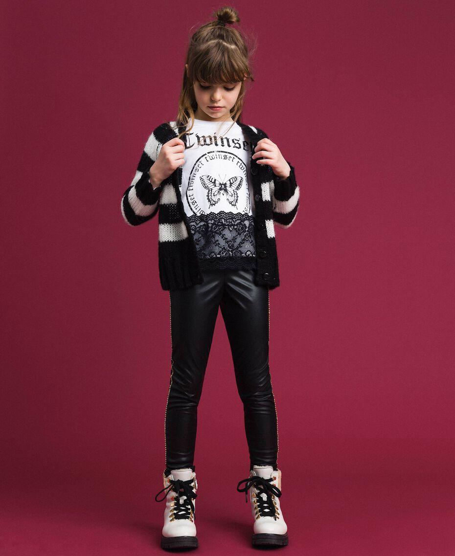 T-shirt avec imprimé et dentelle Blanc Optique / Noir Enfant 192GJ2393-0T