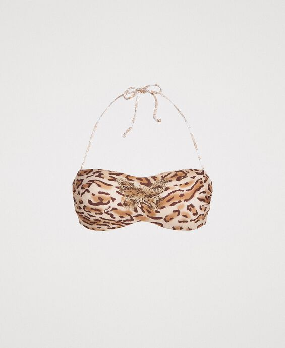 Leopard print bandeau bikini top with butterfly