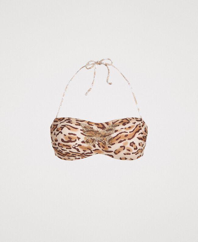 "Bandeau-Bikinitop mit Animal-Print und Schmetterling Motiv Tiere ""Petra Sandstone"" Braun Frau 191LMMU11-01"
