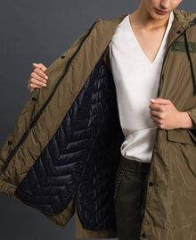 """Taffeta padded parka coat """"Military"""" Green with Gold Sequins Woman 192TP2490-04"""
