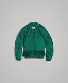 Technical fabric bomber jacket with feathers Evergreen Green Woman 191TP2011-0S