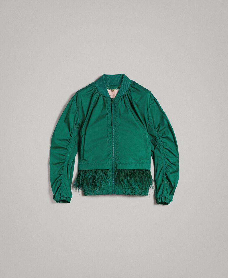 Bomber en tissu technique avec plumes Vert Evergreen Femme 191TP2011-0S