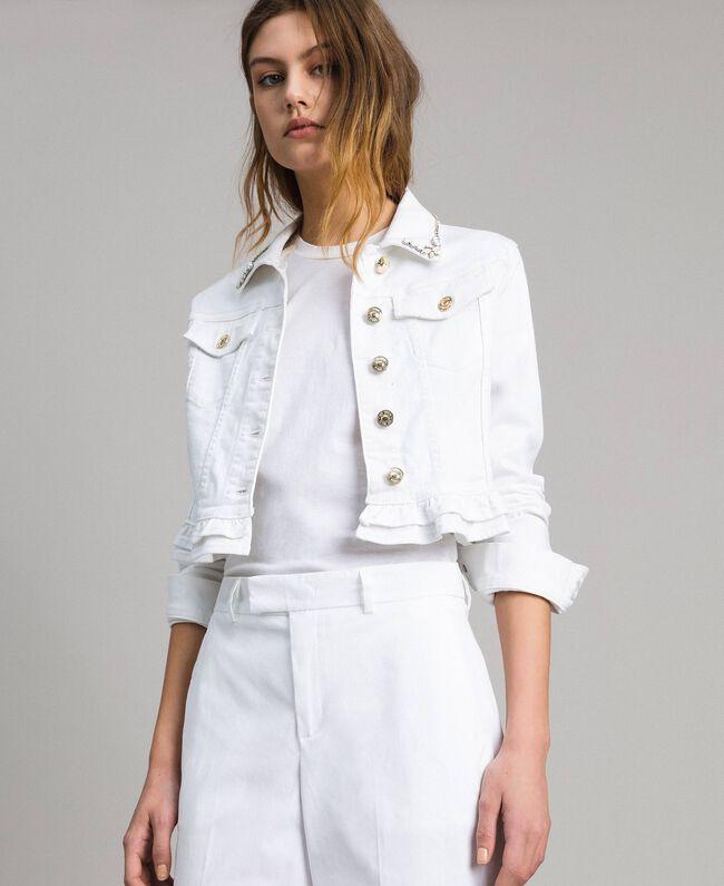 Jacke mit Rüschen und Stickerei Weiß Frau 191MT2442-01