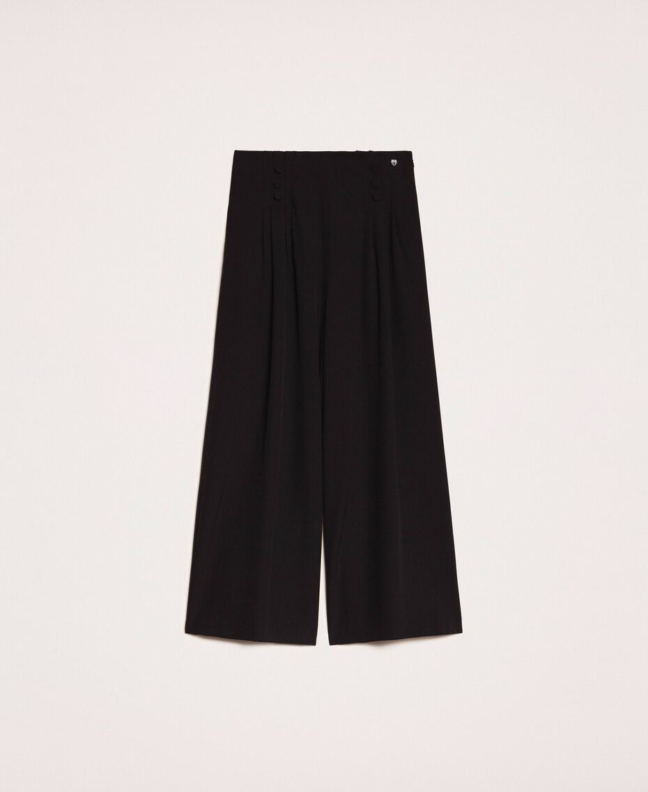 Crêpe de Chine high waist trousers Black Woman 201MP2110-0S