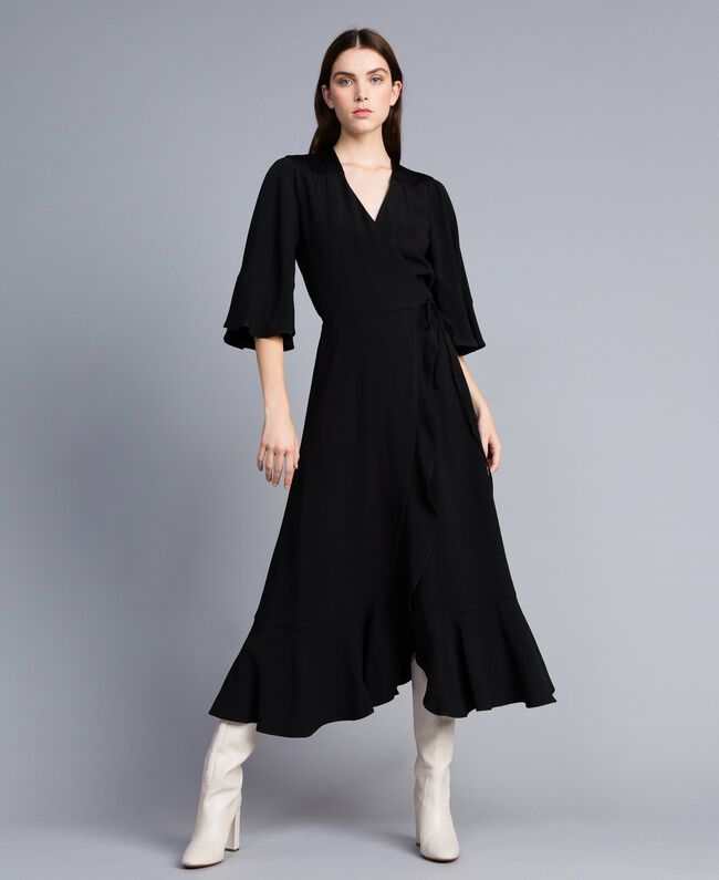 Robe midi en envers satin Noir Femme TA824B-03