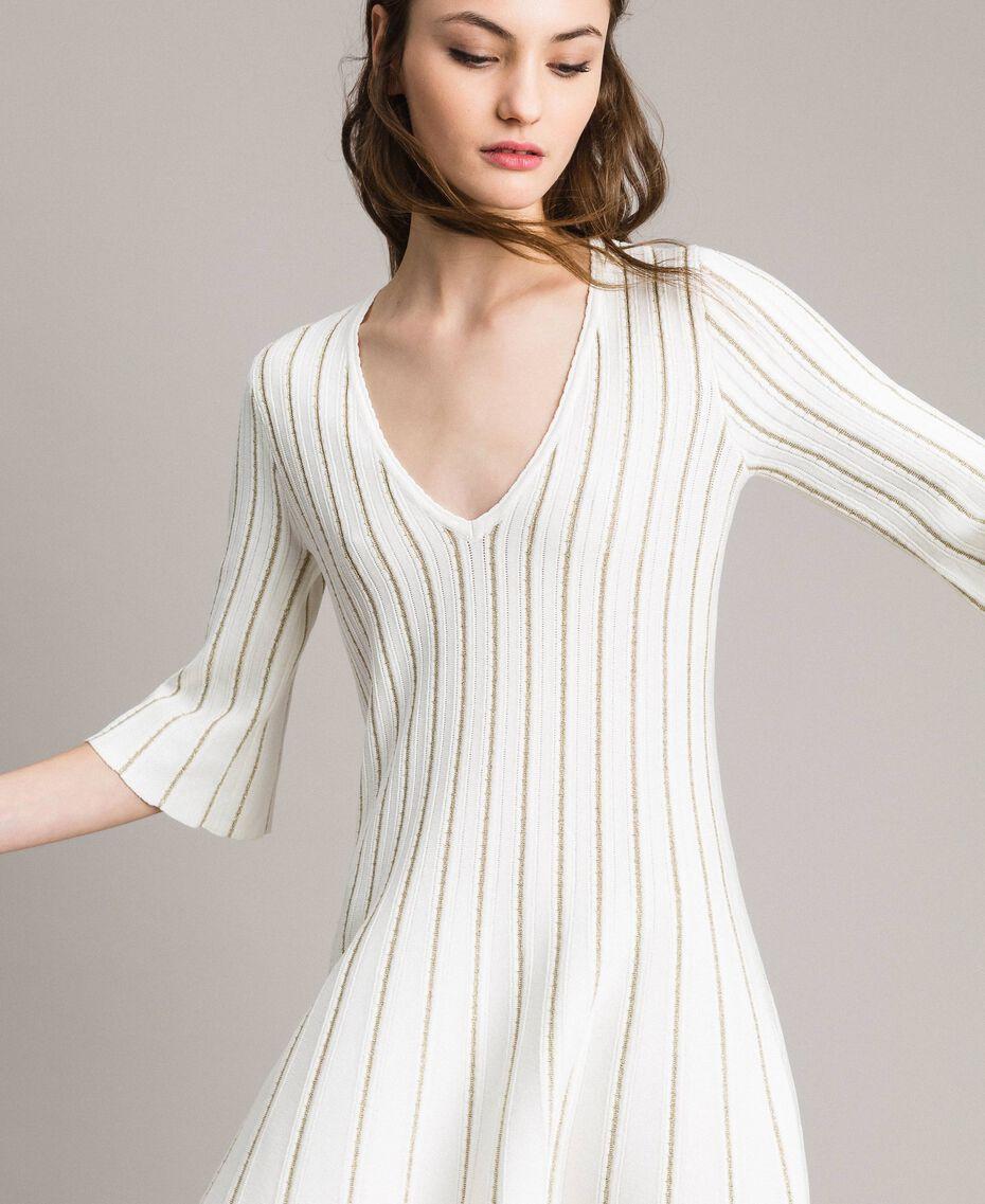 Robe en maille avec côtes en lurex Blanc Neige Femme 191TP3250-01