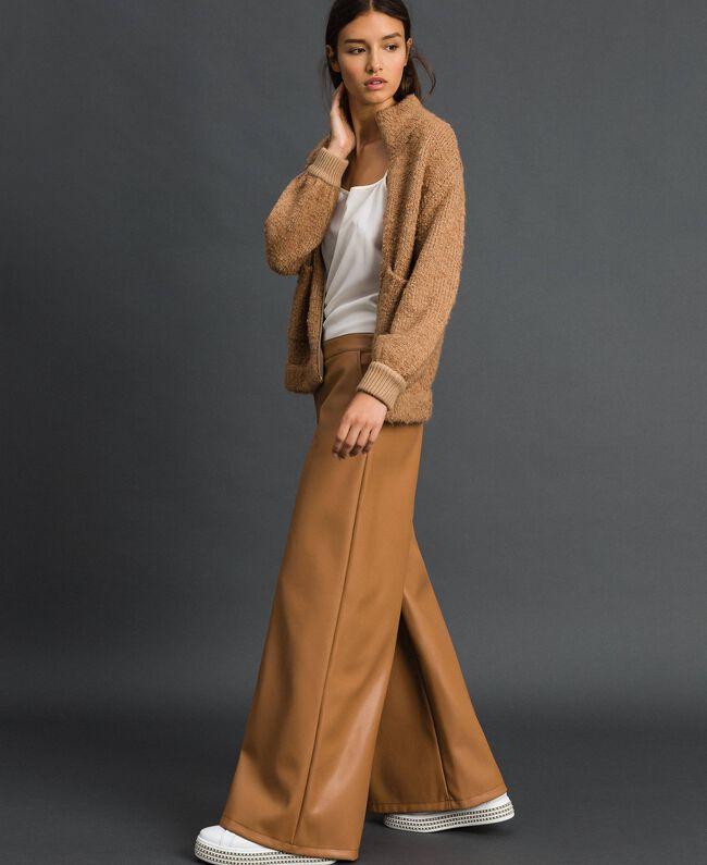 Blouson en maille bouclée Beige «Camel Skin» Femme 192LI3KDD-03