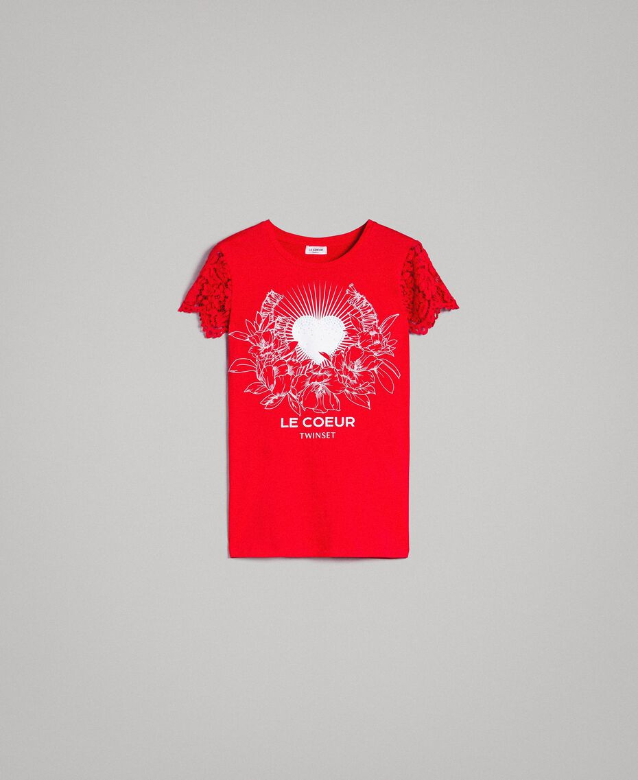 Printed T-shirt with lace Poppy Red Woman 191ST208A-0S