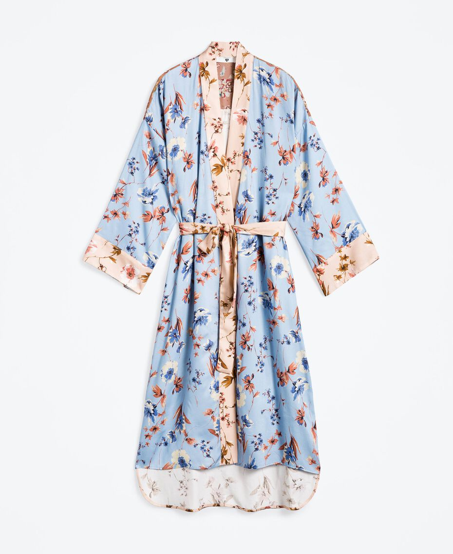 Long floral print dressing gown Pink Flower Mix Print Woman IA8EVV-01