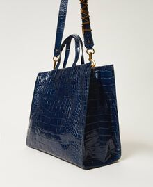 "Large leather Twinset Bag shopper ""True Navy"" Blue Croc Print Woman 202TB7110-04"