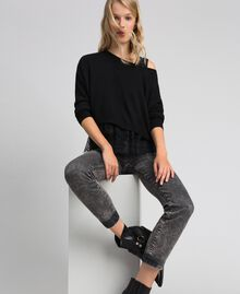 Boxy jumper with crêpe and lace top Black Woman 192TT3085-05