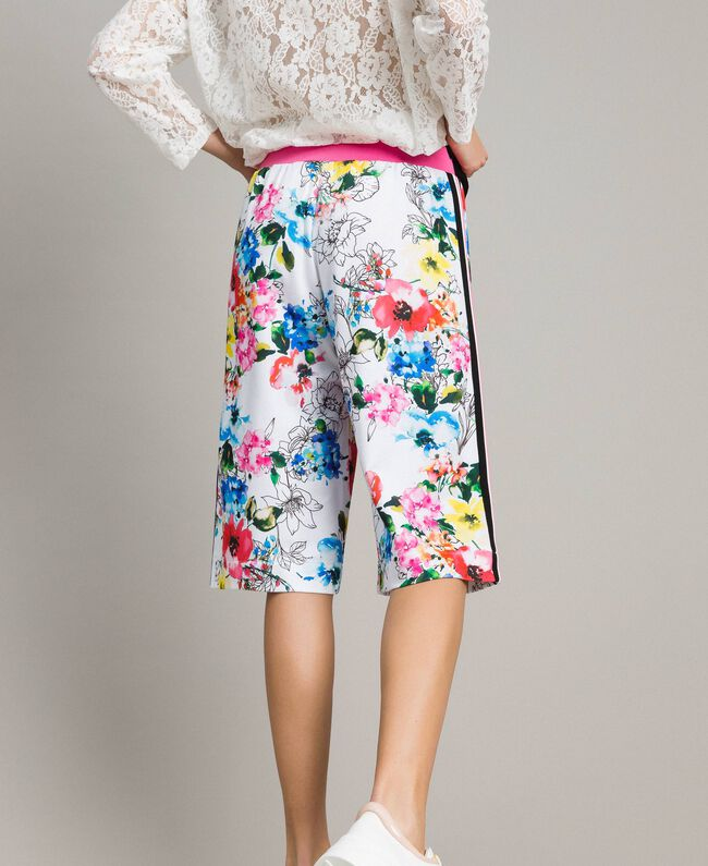 Printed fleece cropped trousers All Over Optical White Multicolour Flowers Print Woman 191MT2362-03