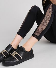 Leather trainers with embroidered band Black Woman 192TCP06Q-0S