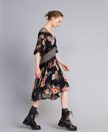 Floral print georgette short dress Flower Patch Print Woman PA82MD-02