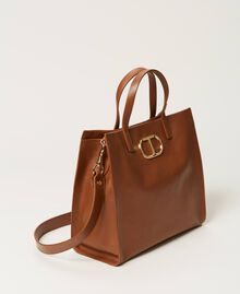 Twinset Bag leather shopper Leather Brown Woman 211TD8041-02