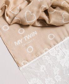 Écharpe avec imprimé et dentelle Porcelaine Beige Femme 191MA4305-01