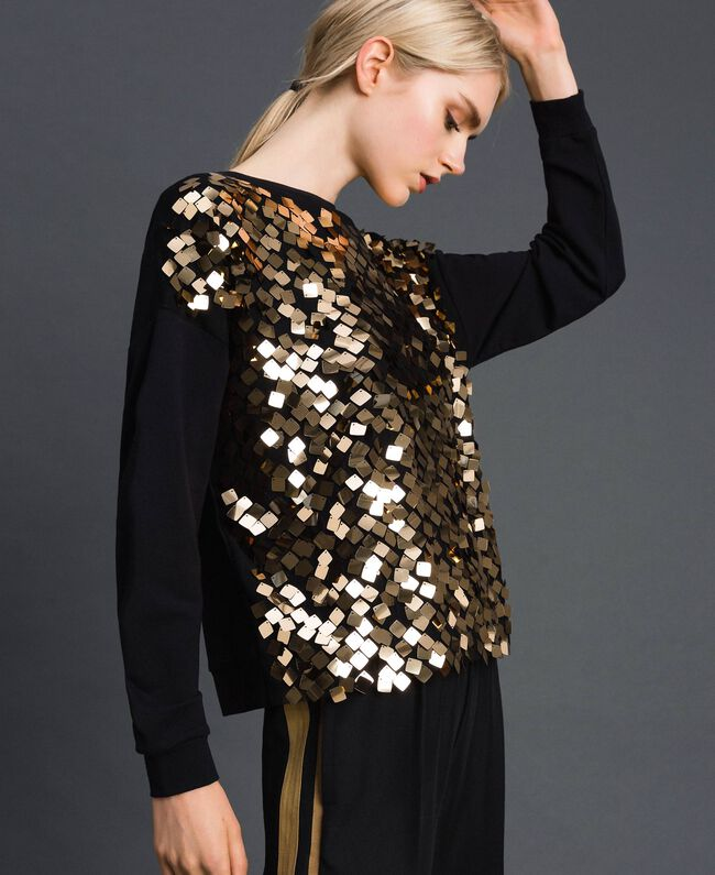Sweatshirt with full sequin inlay Sequin Embroidery Woman 192ST2212-01