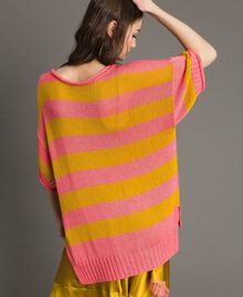"""Maxi jumper with slits """"Coral Geranium"""" Red / """"Honey Gold"""" Striping Woman 191TT3150-03"""