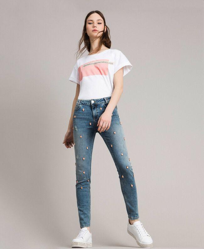 Skinny Jeans mit Lünetten und Strasssteinen Denimblau Frau 191MP2481-01