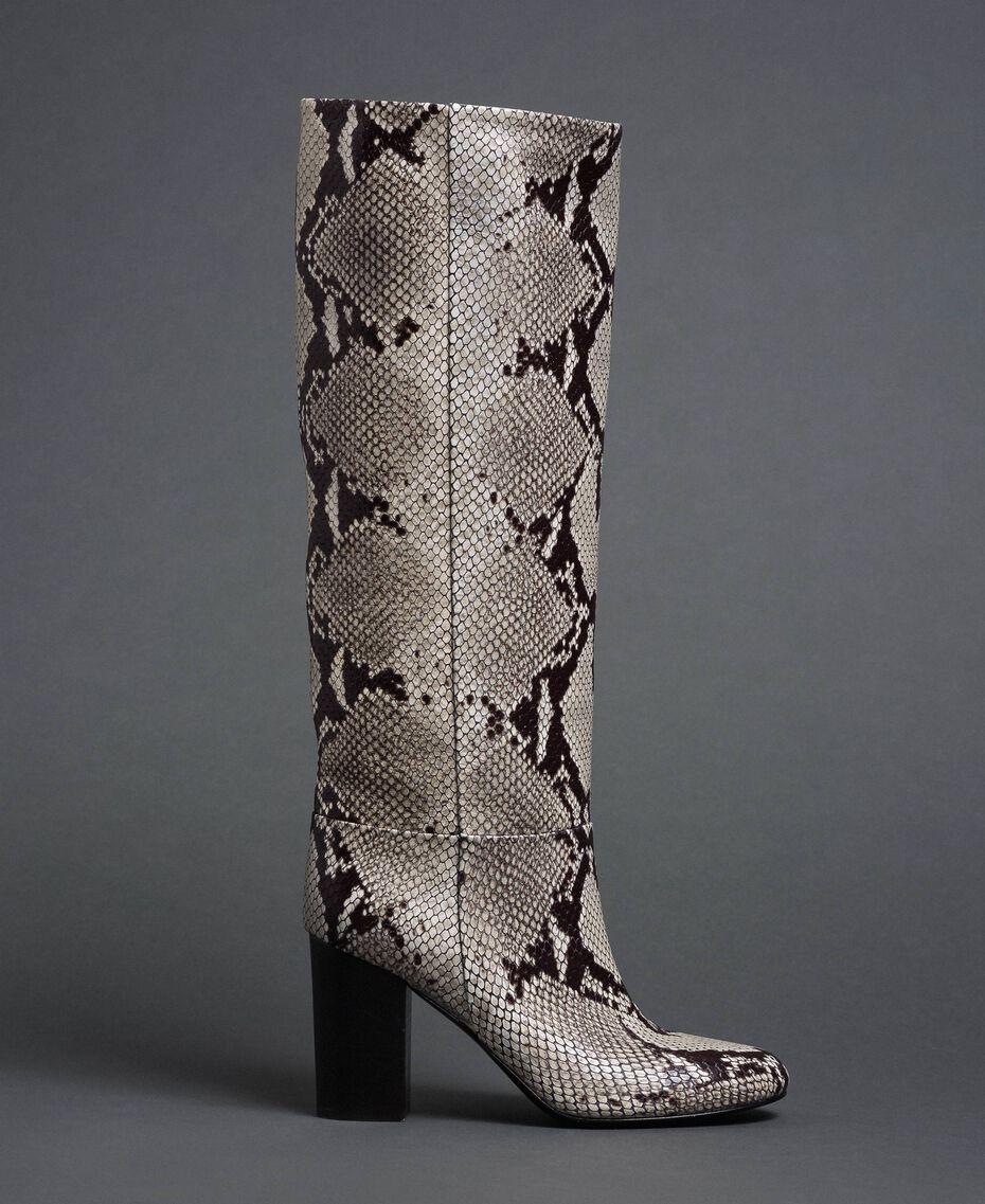 Stivali in pelle con stampa animalier Stampa Pitone Roccia Donna 192TCT010-03