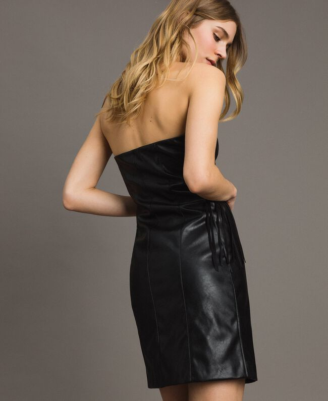 Faux leather bustier dress with fringes Black Woman 191TT2320-03
