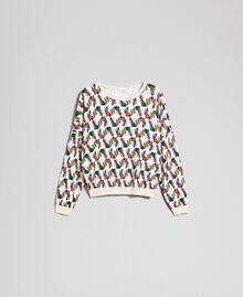Printed jumper Creamy White Fox Geometric Print Woman 192ST3222-0S