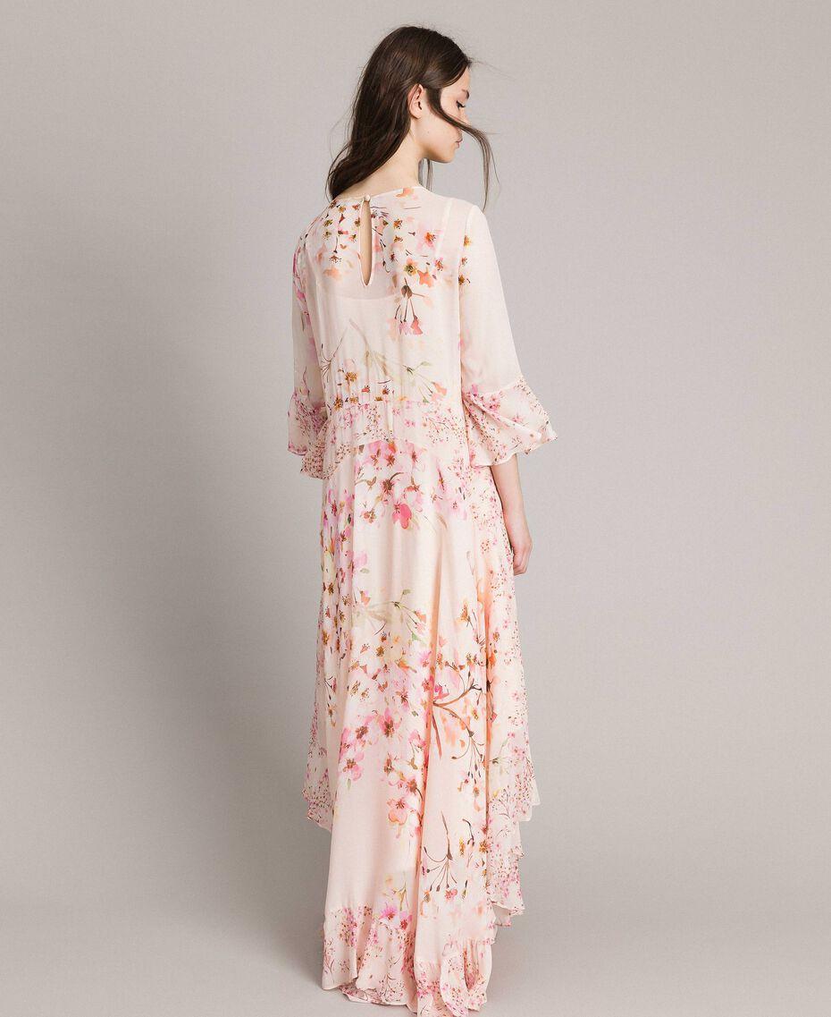 """Georgette-Maxikleid mit Blumenmuster Motiv """"Blossom / Peach Mix"""" Pink Frau 191TP2718-05"""