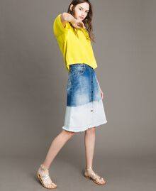 Dip-dye denim skirt Bleached Shades Woman 191TT2054-02