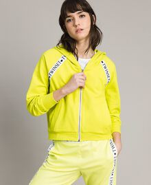 "Fleece jacket with inserts and logo ""Lemon Juice"" Yellow Woman 191LL28CC-02"