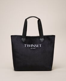 Velvet shopper with pochette Black Woman 999TA7010-01