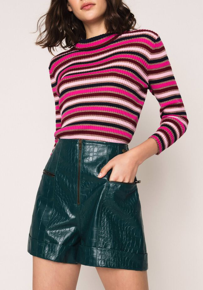 Shorts in similpelle con stampa coccodrillo