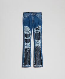 Bell bottom jeans with lace Denim Blue Woman 192MT2450-0S