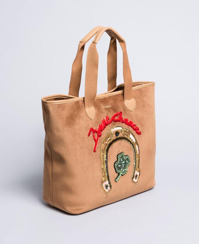 Shopper in velluto con ricamo Camel Donna AA8PLA-01