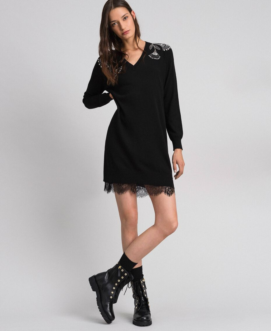 Cashmere and wool dress with embroidery and slip Black Woman 192TP3331-01