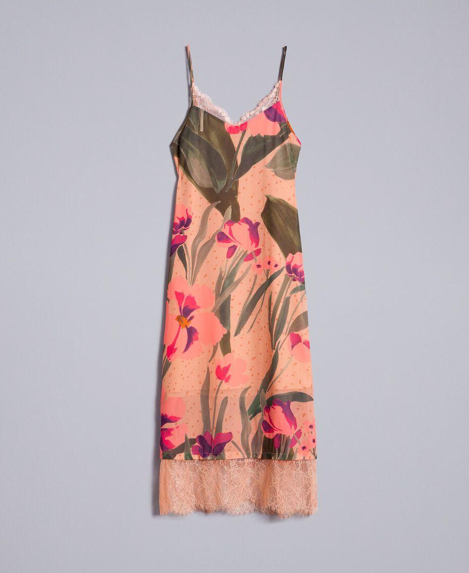 Robe nuisette en crêpe georgette imprimé Imprimé Rose Grande Tulipe Femme TA828U-0S